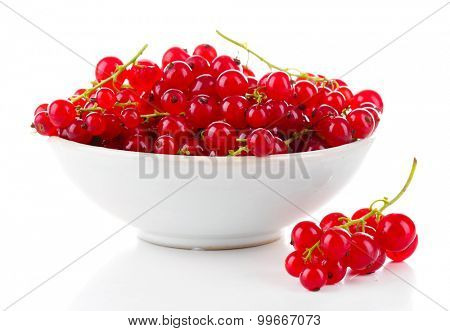 Fresh red currants in bowl isolated on white