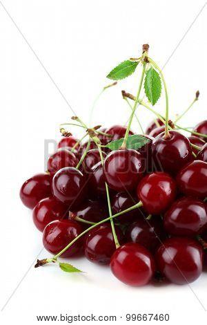 Cherries isolated on white
