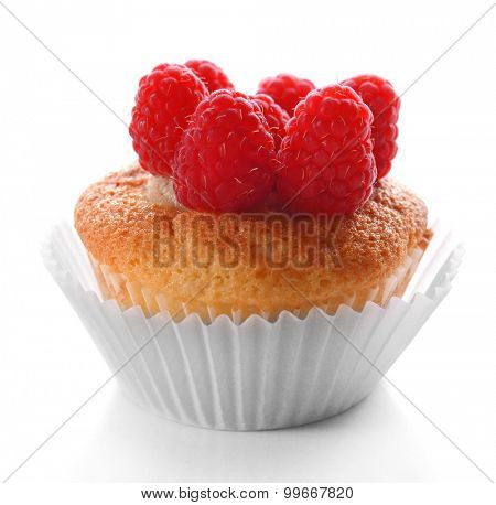 Delicious cupcake with berries isolated on white