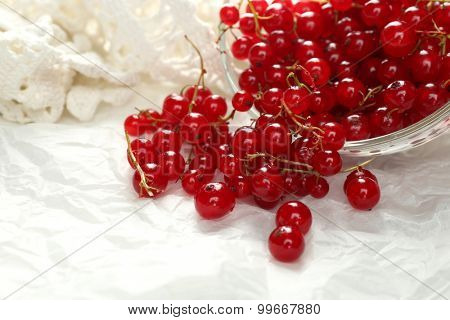 Ripe red currant  in glass bowl on light background
