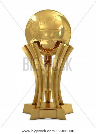 Golden basketball award trophy with ball and stars