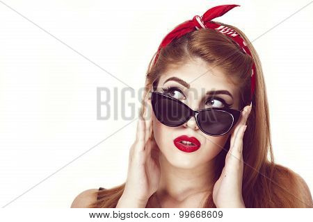 young stylish caucasian woman posing, retro styling, space for copy