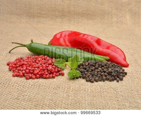 Red Hot Chili Pepper On The Jute Gunny Bag