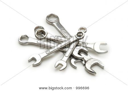 Various Spanners Isolated On The White Background