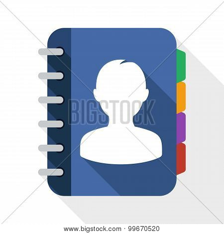 Address Book Flat Icon With Long Shadow On White Background