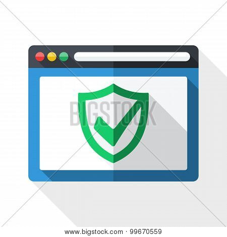 Antivirus Icon With Security Shield And Long Shadow On White Background