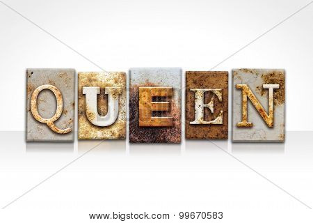 Queen Letterpress Concept Isolated On White