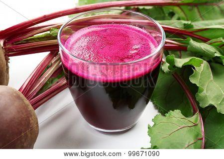 Fresh beet juice, closeup