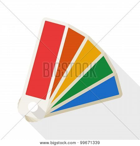 Color Palette Icon With Long Shadow On White Background
