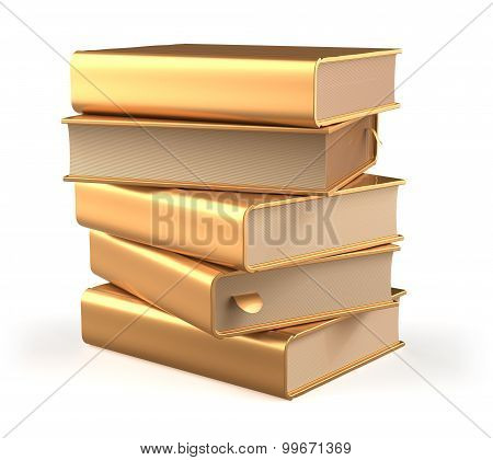 Books Five Textbook Stack Of Book Covers Gold Yellow Blank