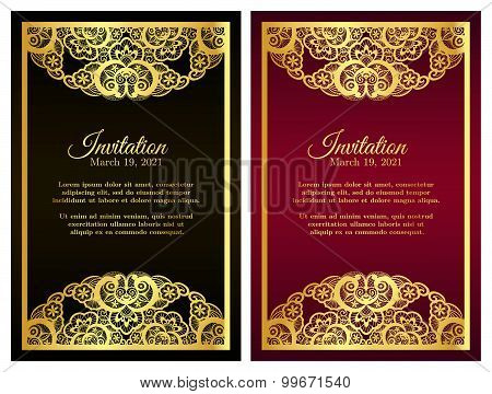 Vintage Red Invitation Cover With Golden Lace Decoration