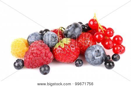 Group of fresh berries isolated on white