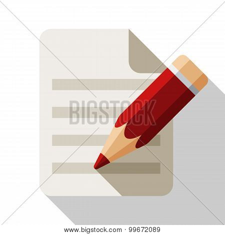 Document And Pencil Flat Icon With Long Shadow On White Background