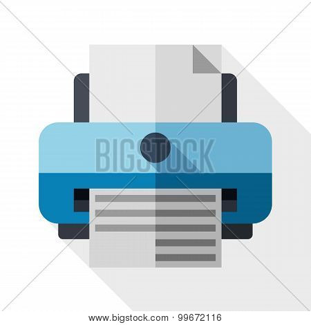 Flat Printer Icon With Long Shadow On White Background