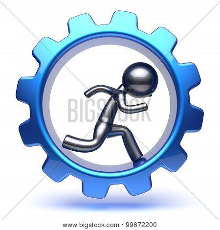 Business Man Gear Wheel Character Cartoon Guy Run Inside