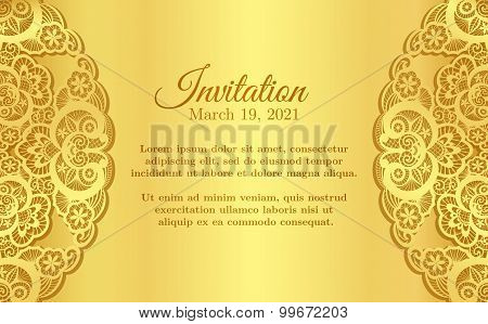 Vintage Golden Invitation Cover With Lace Decoration