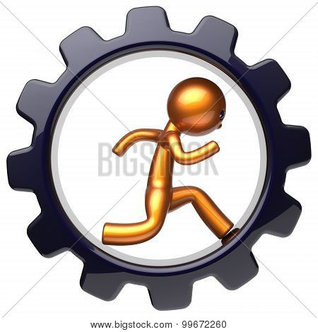 Gear Wheel Man Character Running Inside Business Hard Icon