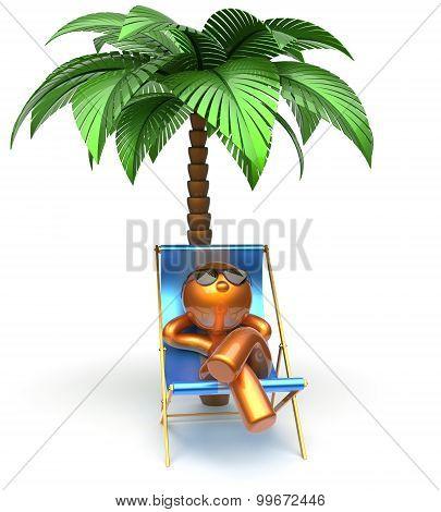 Chilling Beach Cartoon Character Deck Chair Man Relaxing