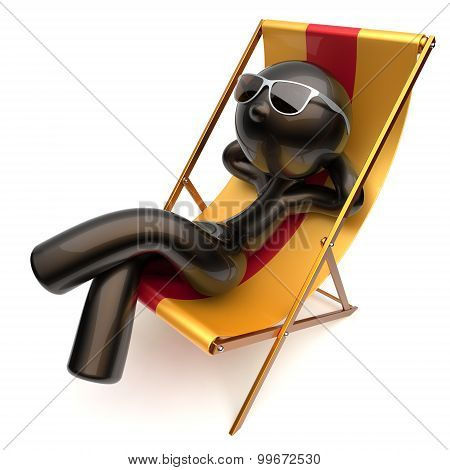 Carefree Chilling Man Relaxing Beach Deck Chair Sunglasses
