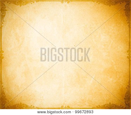 Old Grunge Paper Backdrop With Decorative Border.