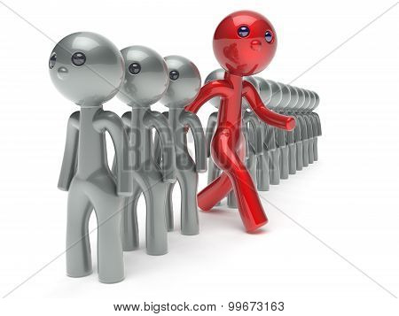 Unusual Different Man Character People Individuality Red