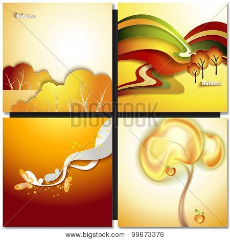Abstract autumn background with yellow tree and butterfly
