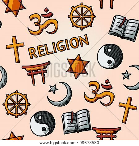 World religion hand drawn seamless pattern - christian, Jewish, Islam, Buddhism, Hinduism, Taoism, S