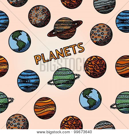 hand drawn planet pattern with - mercury, venus, earth, mars, jupiter, saturn, uranus, neptune, plut