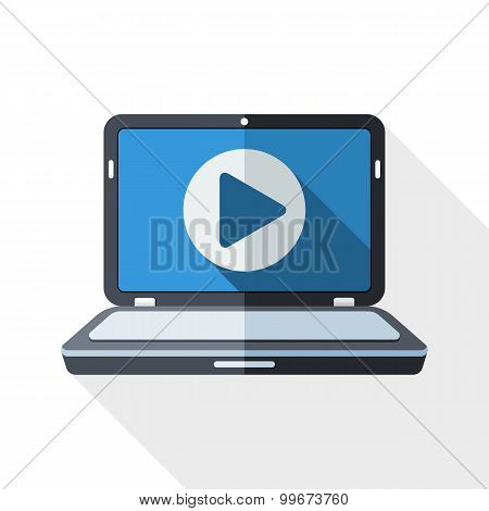 Laptop Icon With Play Button On The Screen And Long Shadow On White Background