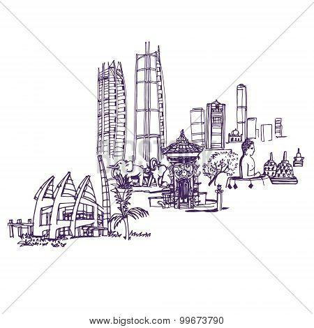 Jakarta skyline, detailed silhouette.