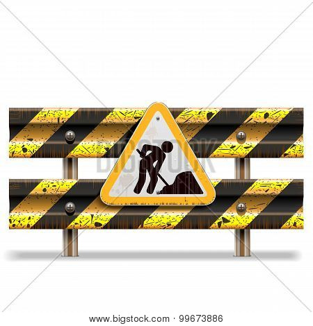 Vector Old Striped Barrier With Sign