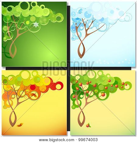 Abstract season tree with circle leaves