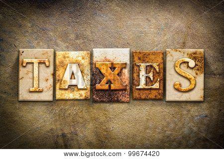 Taxes Concept Letterpress Leather Theme