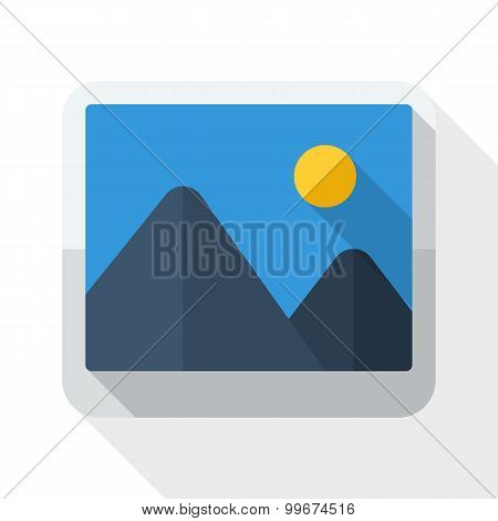 Photograph Icon With Long Shadow On White Background