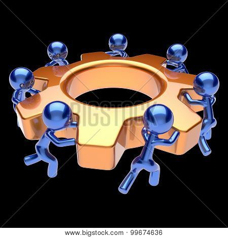 Gear Wheel Teamwork Cogwheel Business Team Work Men
