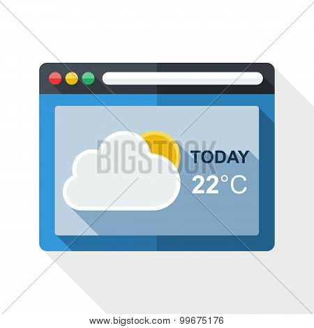 Weather Forecast Application Icon With Long Shadow On White Background