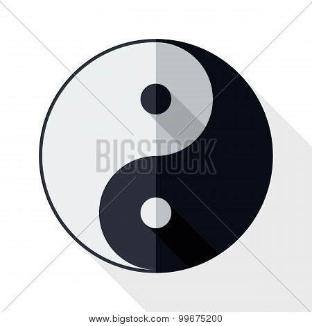 Yin And Yang Symbol With Long Shadow On White Background