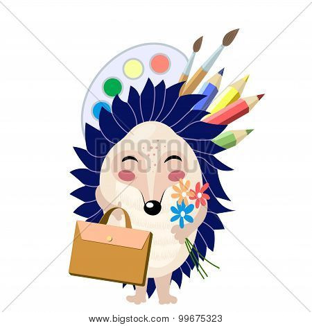 Funny cartoon blue hedgehog going to school