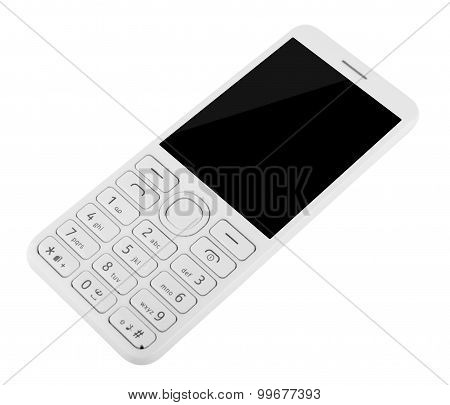 Cell Phone With Keypad Isolated On White Background
