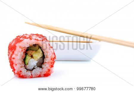 Roll with sauce and wooden sticks isolated on white