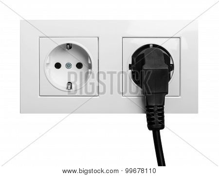 Electric Outlet Isolated On White Backgroundl With Cable Plugged