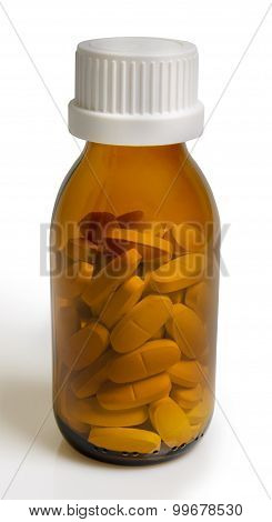 Yellow Pill Bottle Isolated On A White Background