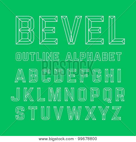 Beveled outline alphabet. Vector.