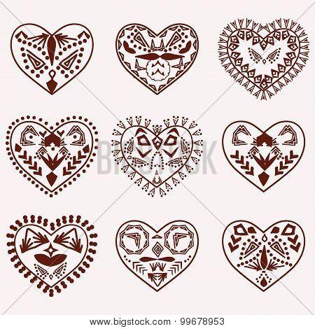 Romantic Hearts Vector Hand Drawn