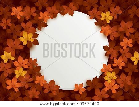 autumn leaves background with blank card