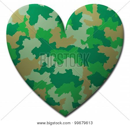 Green Camouflage Heart