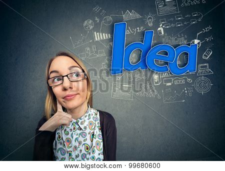 Thinking student nerd with idea