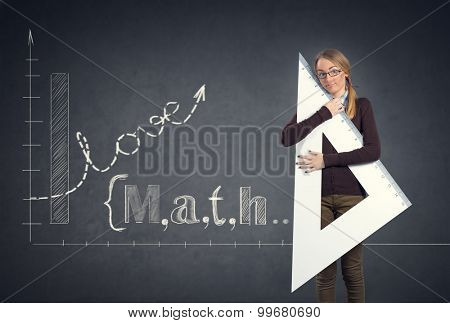 student hugging big ruler concept I love math