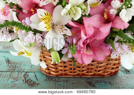 Beautiful floral arrangement in basket close up