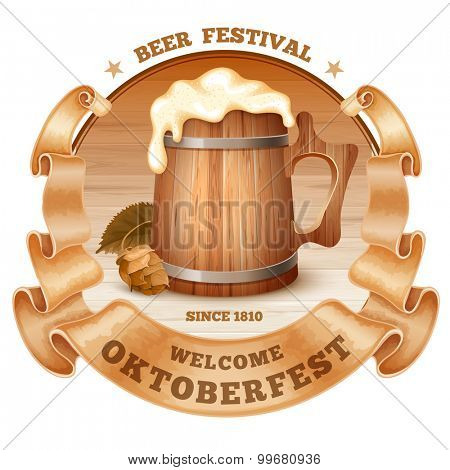 Retro styled emblem with old beer mug with foam, wooden barrel, twisted vintage ribbon and the text Beer festival Oktoberfest. Isolated on white background. Vector illustration.